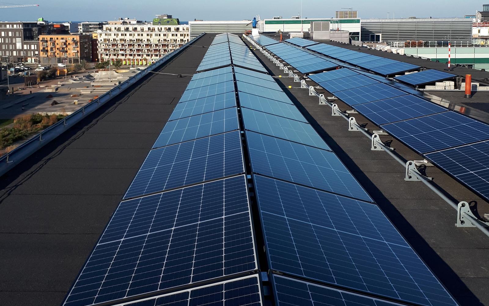 solpaneler i rad på tak